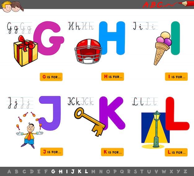 Karikatur-illustration des alphabet-pädagogischen satzes Premium Vektoren