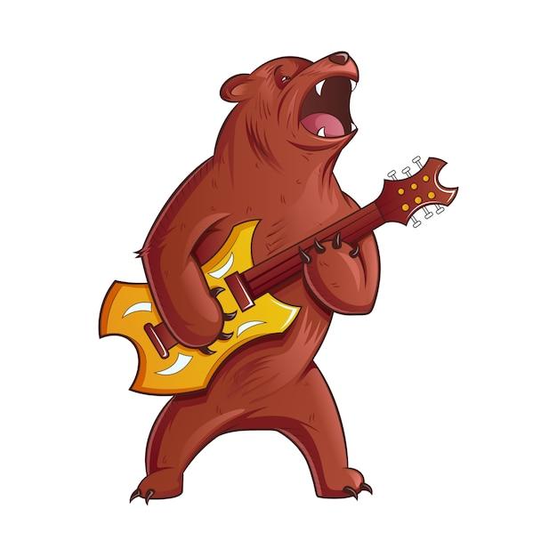 Karikatur-illustration des bären gitarre spielend. Premium Vektoren