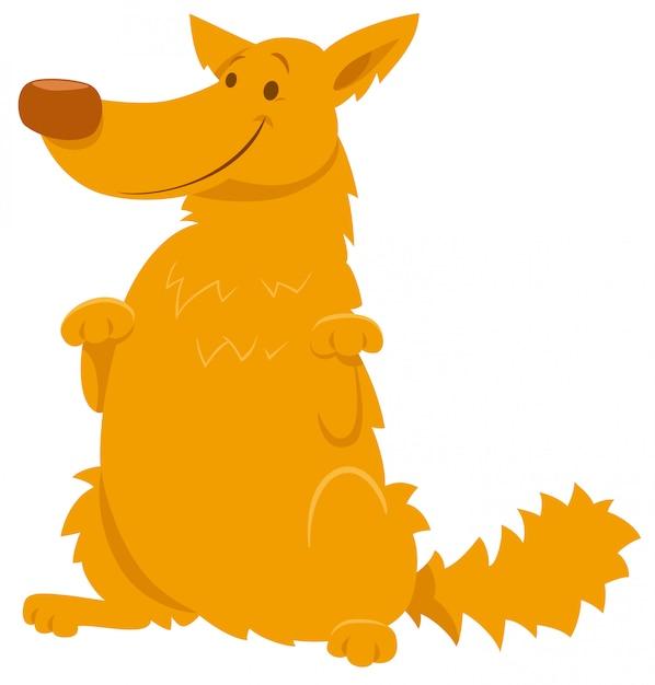 Karikatur-illustration des gelben shaggy dog character Premium Vektoren