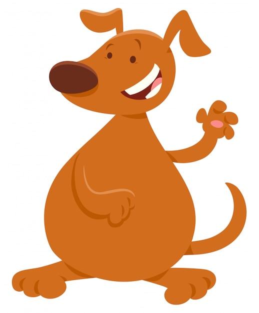 Karikatur-illustration des glücklichen brown-hundes Premium Vektoren