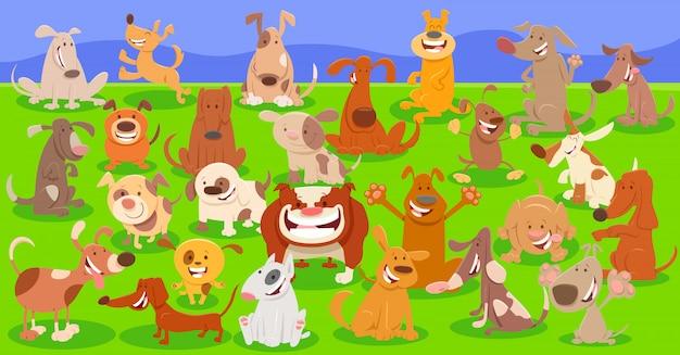 Karikatur-illustration des hundecharakter-hintergrundes Premium Vektoren