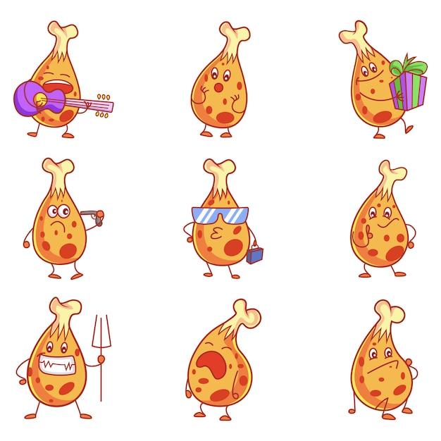 Karikatur-illustration des netten hühnersatzes. Premium Vektoren