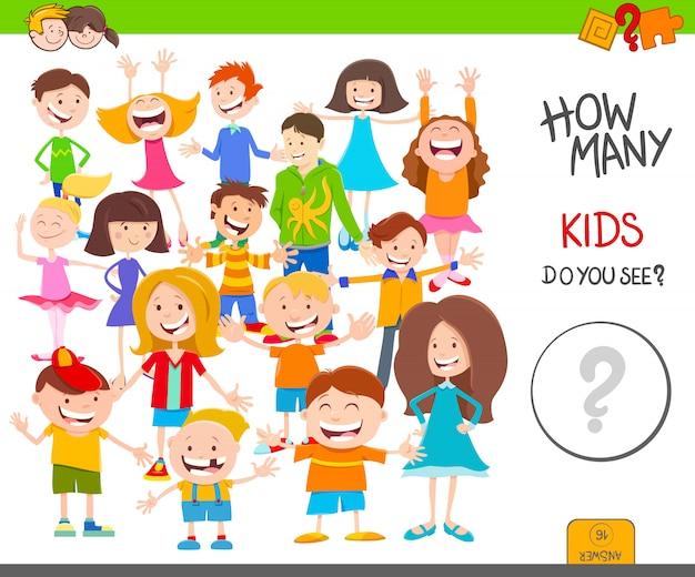 Karikatur-illustration des pädagogischen zählspiels für kinder Premium Vektoren