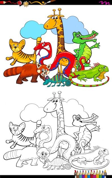 Karikatur-illustration des tiergruppen-malbuches Premium Vektoren