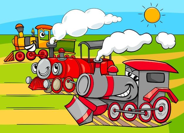 Karikatur-illustration von dampfmaschinen-lokomotiven Premium Vektoren