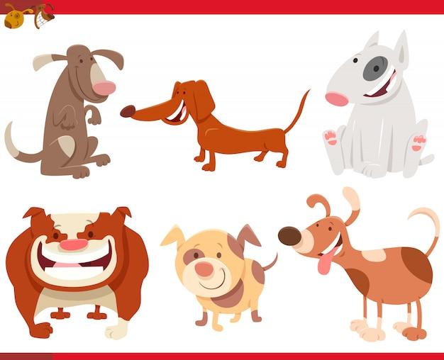 Karikatur-illustration von den lustigen hundecharakteren eingestellt Premium Vektoren