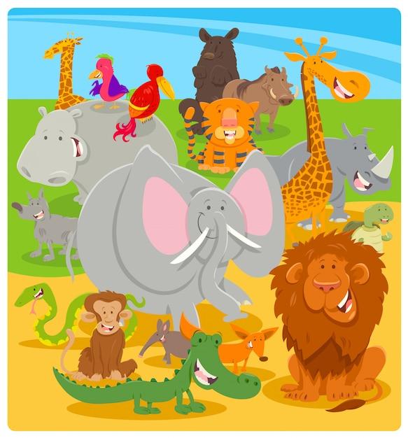 Karikatur-illustration von wilden tiercharakteren Premium Vektoren