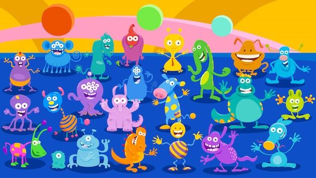 Karikatur-illustrationen des monster-fantasie-hintergrundes Premium Vektoren