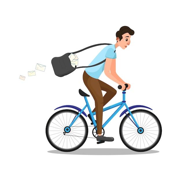 Karikatur-kaukasischer mann im briefträger-rollen-reitfahrrad Premium Vektoren