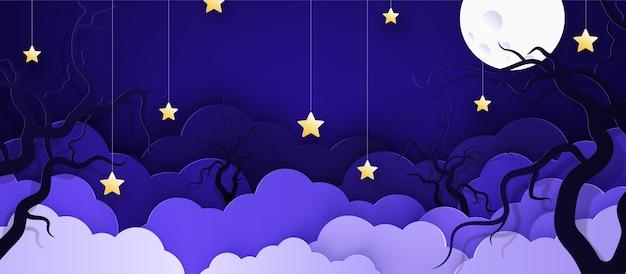 Karikatur kindlicher hintergrund mit wolken und sternen auf schnüren. Premium Vektoren
