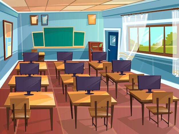 Karikatur leerer Highschool Hochschuluniversitäts-Informatik-Klassenzimmerhintergrund Kostenlose Vektoren