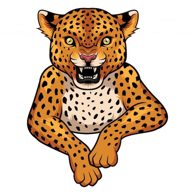 Karikatur-leopardmaskottchen Premium Vektoren