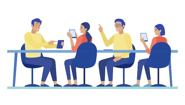 Karikatur-leute-charaktere, die bei der sitzung zusammenarbeiten Premium Vektoren