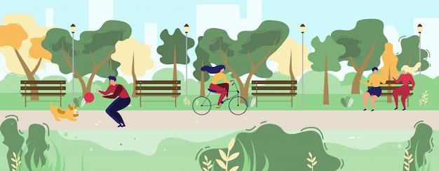 Karikatur-leute, die in flachen städtischen allgemeinen park gehen Premium Vektoren