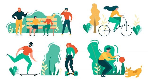 Karikatur-leute-draußen tätigkeits-sport-erholung Premium Vektoren