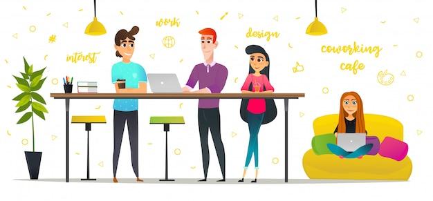 Karikatur-leute in coworking-café-getränk-kaffee Premium Vektoren
