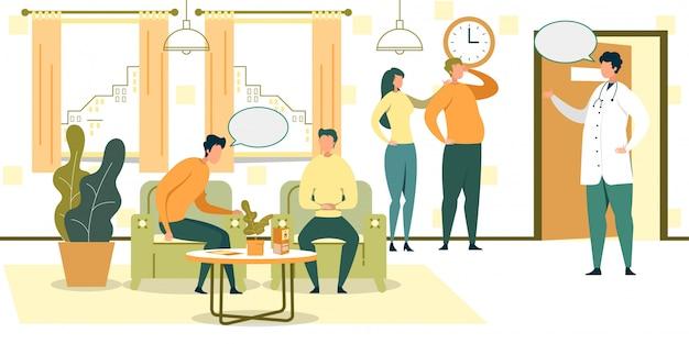 Karikatur-leute warten in stühle in der krankenhaus hall-illustration Premium Vektoren