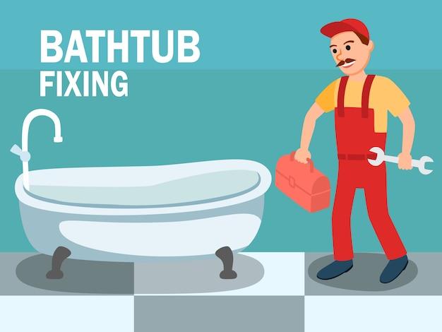 Karikatur-männlicher klempner mit schlüssel-werkzeug am badezimmer Premium Vektoren
