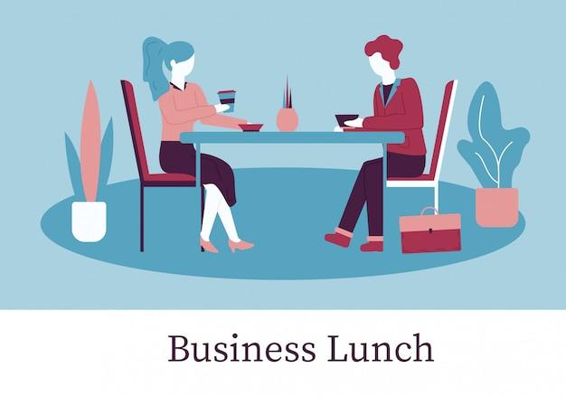 Karikatur-mann-frau sit table im café-business-lunch Premium Vektoren