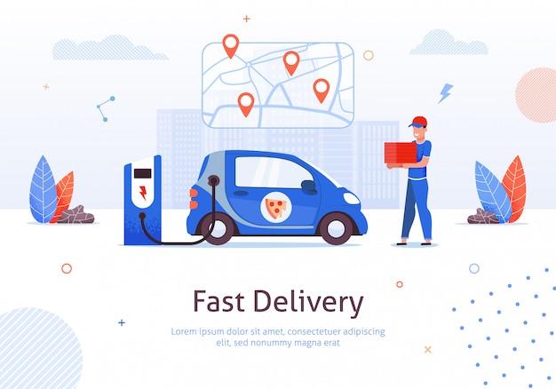 Karikatur-mann mit der pizza-kasten-elektroauto-aufladung Premium Vektoren