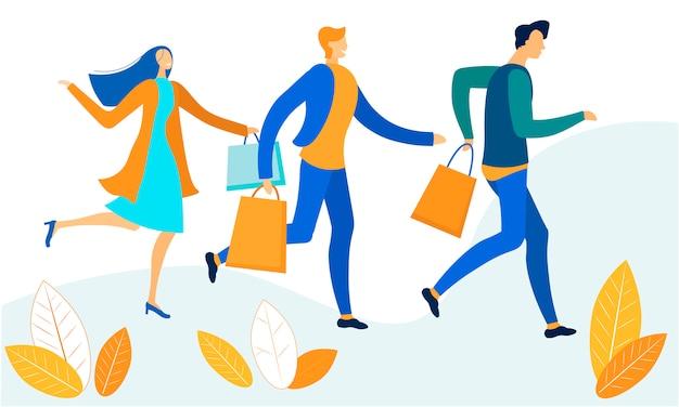 Karikatur-mann und frau, die mit einkaufstaschen sich beeilen Premium Vektoren