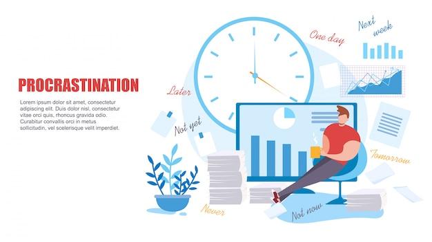 Karikatur-mann zögern bei der arbeit niedrige produktivität Premium Vektoren