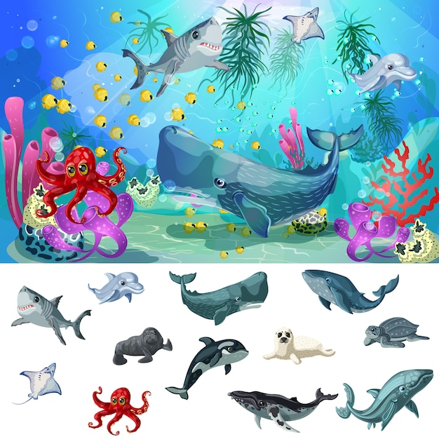 Karikatur meer und ozean fauna konzept Kostenlosen Vektoren