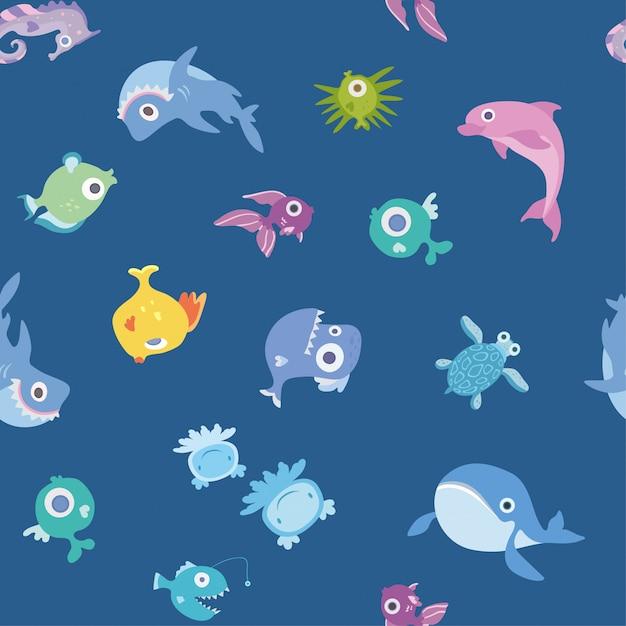 Karikatur-meerestiere, nahtloses muster. wal, hai, delphin und andere fische und tiere. hintergrundillustration. Premium Vektoren