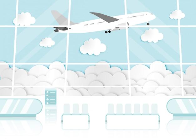 Karikatur mit passagierraum im flughafenterminal Premium Vektoren