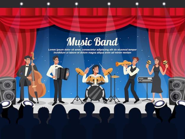 Karikatur-musiker-illustration Kostenlosen Vektoren
