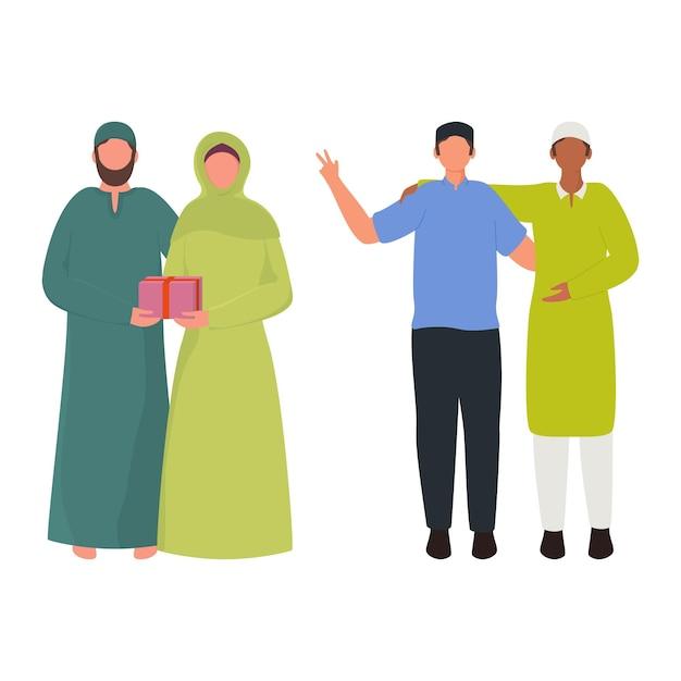Karikatur muslimische männer und frau charakter in stehender pose. Premium Vektoren