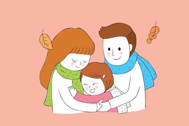 Karikatur nette herbstfamilie, die vektor umarmt. Premium Vektoren