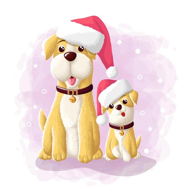 Karikatur-nette hundefrohe weihnacht-eskimo-illustration Premium Vektoren