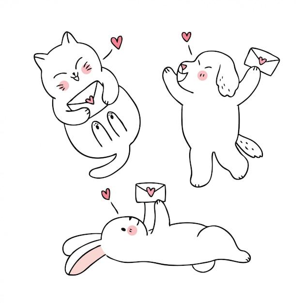 Karikatur nette valentinstagkatze und hund und kaninchen- und liebesbriefvektor. Premium Vektoren