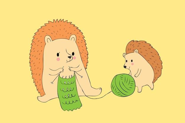 Karikatur Netter Herbst Igel Und Strickender Vektor Des Babys