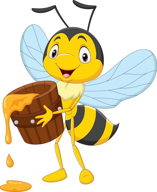 Karikatur niedliche kleine biene, die honigeimer hält Premium Vektoren