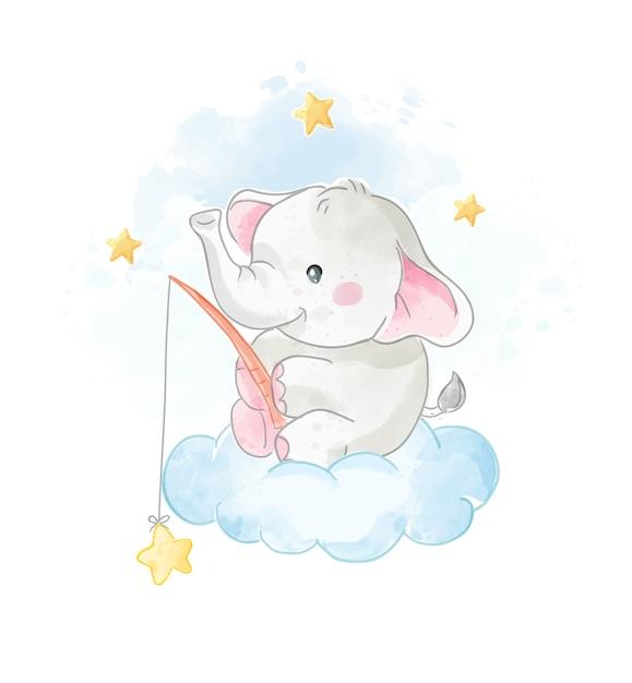 Karikatur-niedlicher elefant auf der wolke mit sternenillustration Premium Vektoren