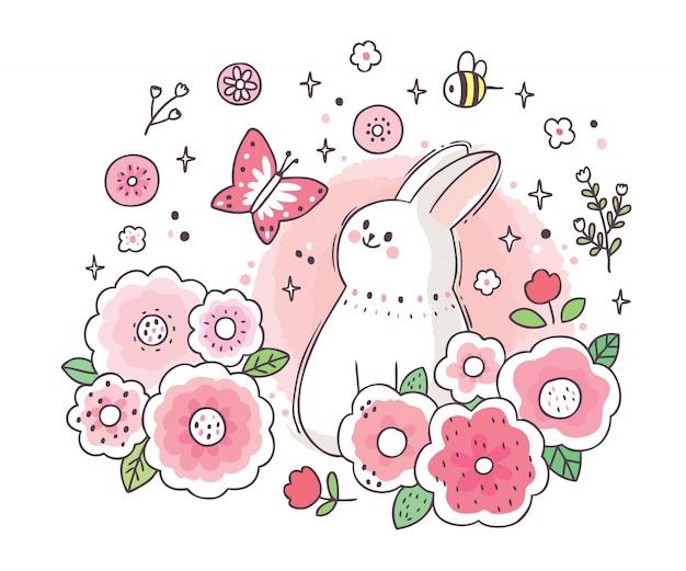 Karikatur niedliches entzückendes weißes kaninchen und schmetterling und gartenblume Premium Vektoren
