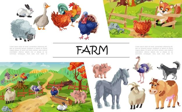 Karikatur-nutztierzusammensetzung mit kaninchenganshahn-schafschwein-truthahnpferdeziegenhundekuh-straußfuchs, der huhn betrachtet Kostenlosen Vektoren