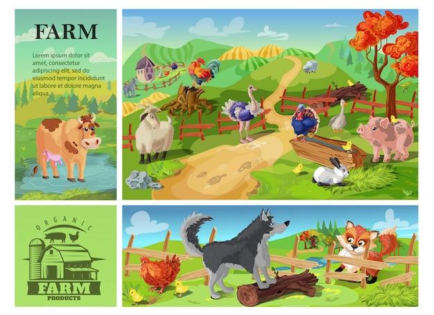Karikatur-nutztierzusammensetzung mit kuhziegenschwein-schafhahn-kaninchen-strauß-truthahn auf ländlicher landschaft und hund, der huhn vom fuchs verteidigt Kostenlosen Vektoren