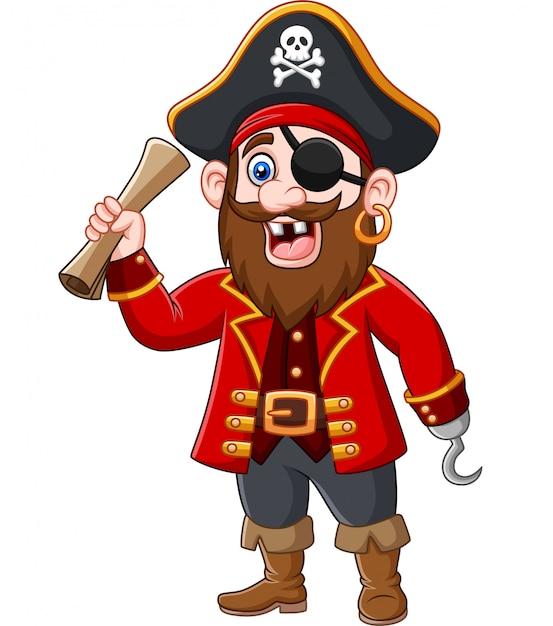 Karikatur-piratenkapitän, der eine schatzkarte hält Premium Vektoren