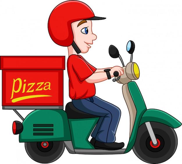 Karikatur-pizza-lieferer, der einen roller reitet Premium Vektoren