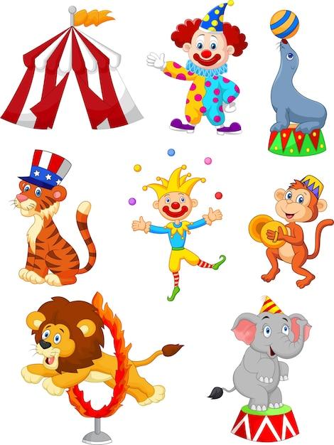 Karikatur-satz der themenorientierten illustration des netten zirkusses Premium Vektoren