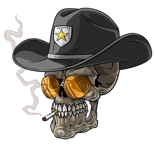 Karikatur-sheriffschädel mit hut und zigarette Premium Vektoren