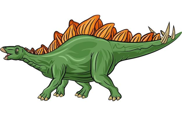 Karikatur stegosaurus getrennt auf weißem hintergrund Premium Vektoren