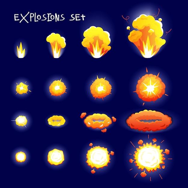 Karikatur stellte mit explosionseffekten der unterschiedlichen größe und der form für die blitzanimation ein, die auf dunkelheit lokalisiert wurde Kostenlosen Vektoren