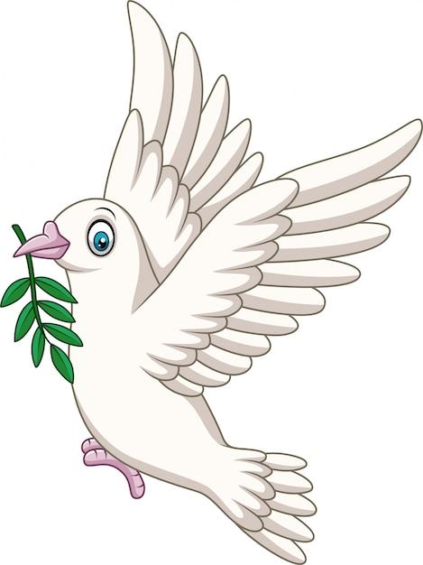 Karikatur-taubenvogellogo für friedenskonzept und hochzeit entwerfen Premium Vektoren