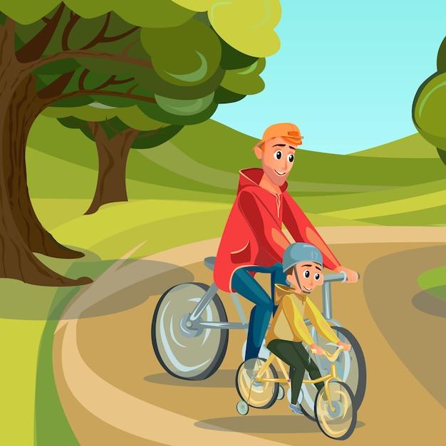 Karikatur-vater ride bike son auf fahrrad im park Premium Vektoren