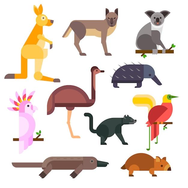Karikatur-vektorsammlung wilder tiere australiens Premium Vektoren