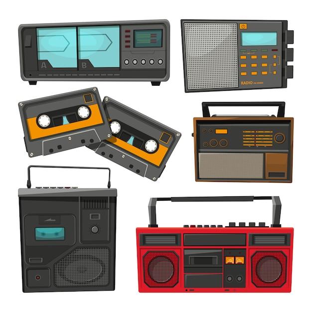 Karikatur von alten musikkassettenrecordern, -spielern und -radios Premium Vektoren